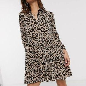 Stradivarius Leopard Print Button Down Shirt Dress